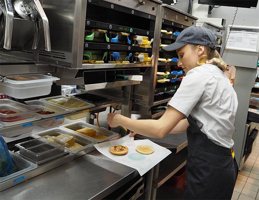 mcdonalds burger assembly